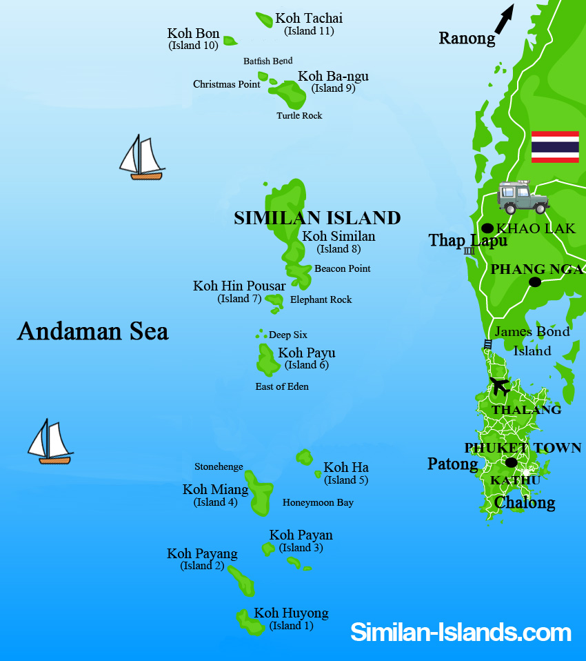 Detailled Similan Islands Map