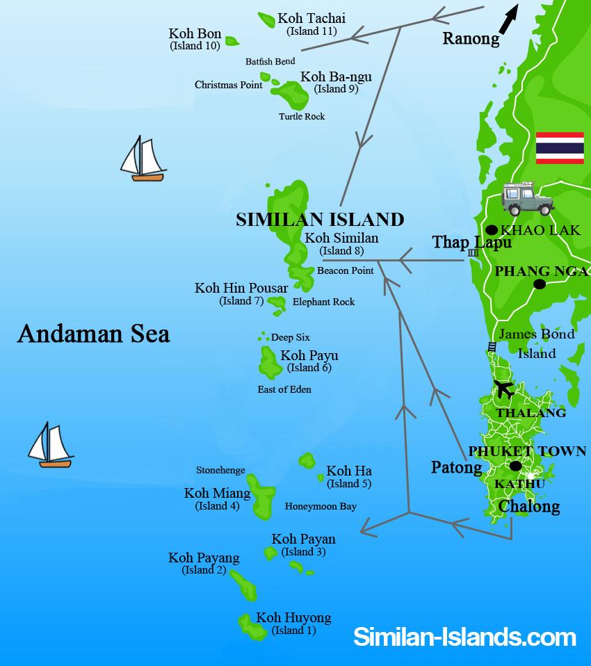 Travel Map Similan Islands