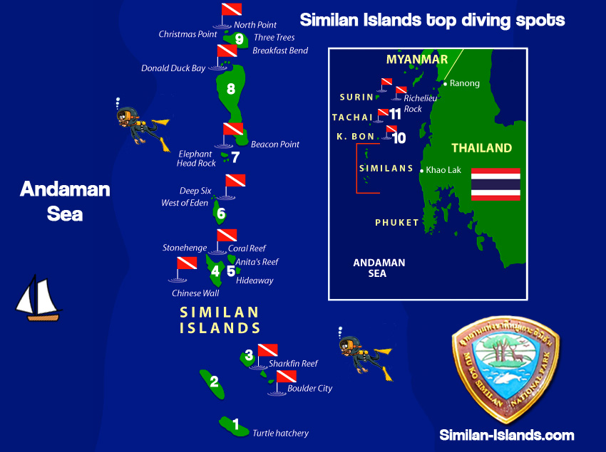 Similan Islands Diving map