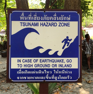 Tsunami hazard sign Similan Islands
